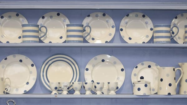 crockery on a shelf